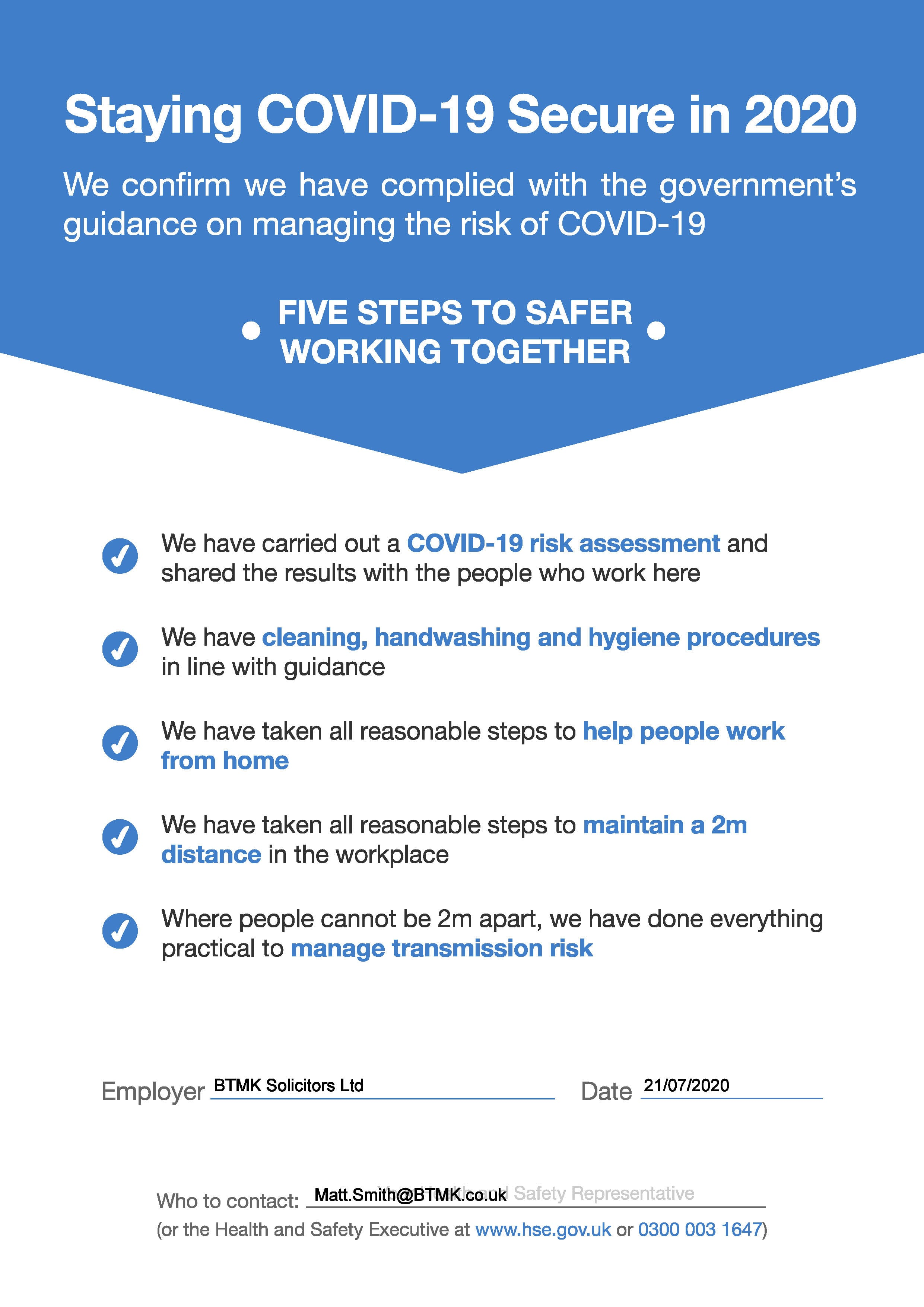 BTMK Covid Compliance Certificate
