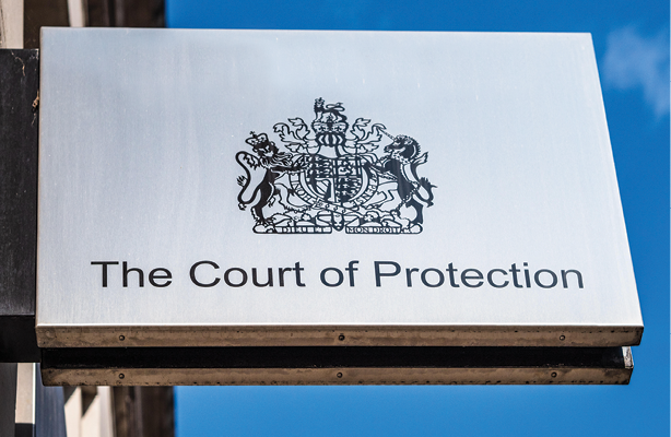 the court of protection logo in a small bilboard